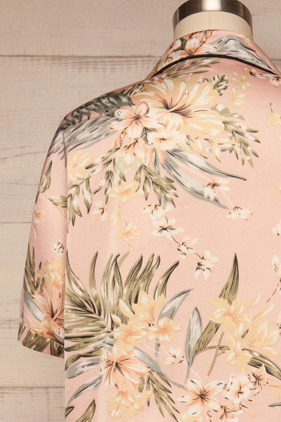 Ensemble Ixchel Pink Floral Print PJ Set | La petite garçonne back close up