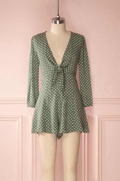 Enza Green & White Polka Dot Tied Neckline Romper | Boutique 1861