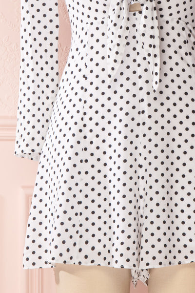 Enza White & Black Polka Dot Tied Neckline Romper | Boutique 1861