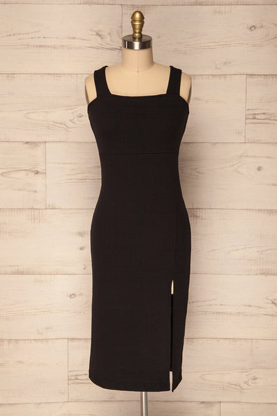 Episcopi Fitted Black Ribbed Midi Dress w Slit | La Petite Garçonne