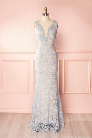 Eranka Light Blue Lace Mermaid Gown | Boudoir 1861 front view