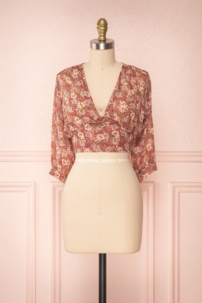 Erasma Pink Floral Chiffon Crop Top | Boutique 1861 front view