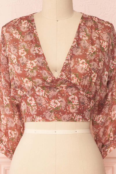 Erasma Pink Floral Chiffon Crop Top | Boutique 1861 front close-up