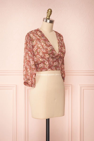 Erasma Pink Floral Chiffon Crop Top | Boutique 1861 side view