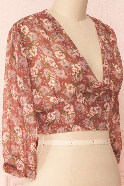 Erasma Pink Floral Chiffon Crop Top | Boutique 1861 side close-up