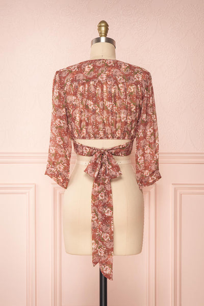 Erasma Pink Floral Chiffon Crop Top | Boutique 1861 back view