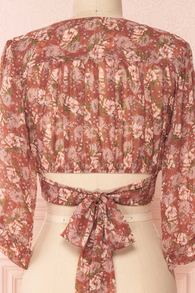 Erasma Pink Floral Chiffon Crop Top | Boutique 1861 back close-up