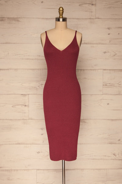 Ericeira Burgundy Ribbed Fitted Midi Dress | La petite garçonne front view