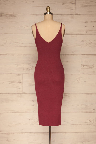 Ericeira Burgundy Ribbed Fitted Midi Dress | La petite garçonne back view