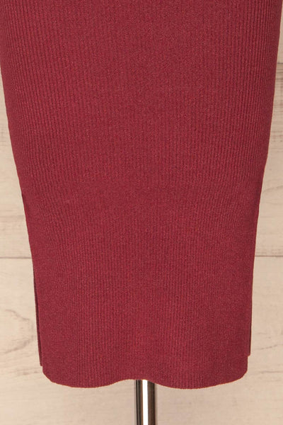 Ericeira Burgundy Ribbed Fitted Midi Dress | La petite garçonne bottom