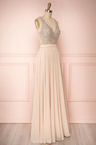 Eridani Champagne Beige A-Line Gown w/ Crystals | Boutique 1861 side view