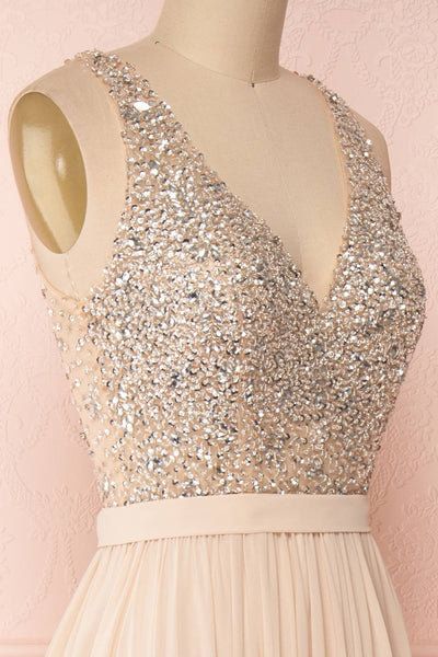 Eridani Champagne Beige A-Line Gown w/ Crystals | Boutique 1861 side close-up