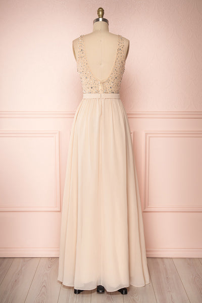 Eridani Champagne Beige A-Line Gown w/ Crystals | Boutique 1861 back view