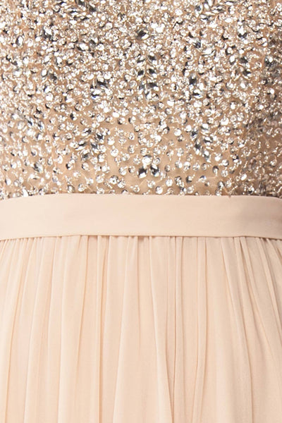 Eridani Champagne Beige A-Line Gown w/ Crystals | Boutique 1861 fabric detail