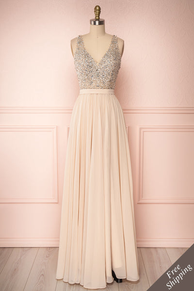 Eridani Champagne Beige A-Line Gown w/ Crystals | Boutique 1861 front view