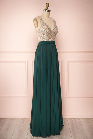 Eridani Émeraude Green A-Line Gown w/ Crystals | Boutique 1861 side view