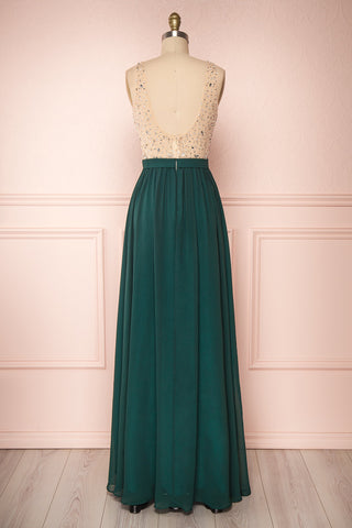 Eridani Émeraude Green A-Line Gown w/ Crystals | Boutique 1861 back view