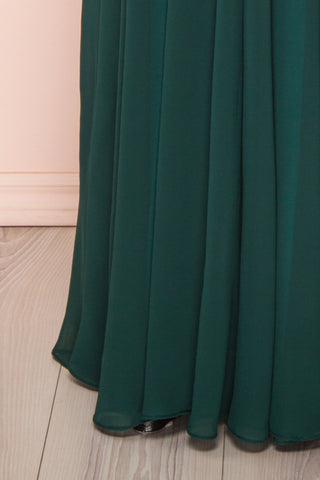 Eridani Émeraude Green A-Line Gown w/ Crystals | Boutique 1861 bottom close-up