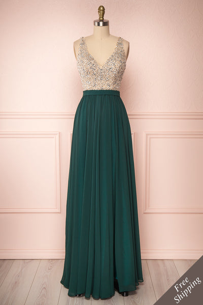 Eridani Émeraude Green A-Line Gown w/ Crystals | Boutique 1861 front view