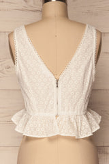 Erithrai White Embroidered V-Neck Top | La Petite Garçonne 6