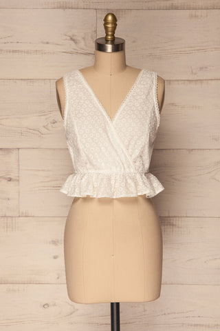 Erithrai White Embroidered V-Neck Top | La Petite Garçonne 1