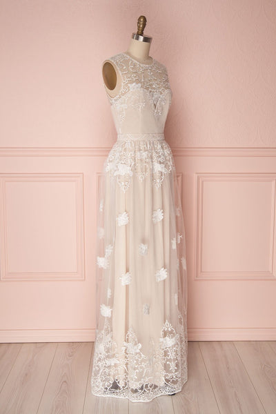 Ermanda | Beige and White Bridal Dress