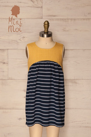 Ermia Mini Navy Striped Kids Tunic Dress | La Petite Garçonne
