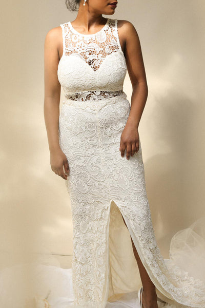Eryn Ivory Lace Crop Top & Maxi Skirt Set | Boutique 1861