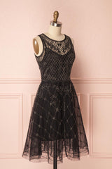Esau Black Beads Embroidery A-Line Dress | Boutique 1861