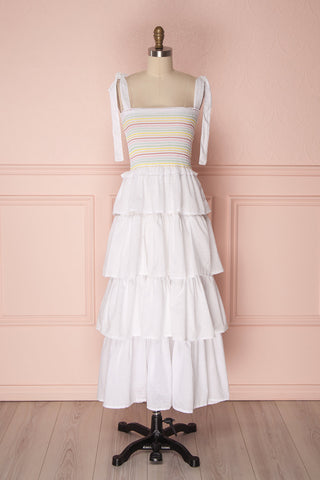 Eshan White Layered Ruffles Midi Dress With Stripes | Boutique 1861