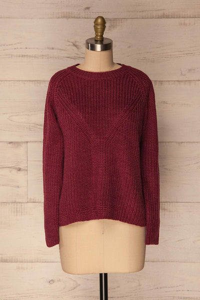 Esher Berry Red Long Sleeved Knit Sweater | La Petite Garçonne