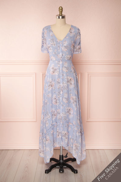 Espella Lilac Floral Buttoned Maxi Dress | Boutique 1861 front view FS
