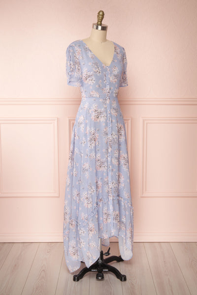 Espella Lilac Floral Buttoned Maxi Dress | Boutique 1861 side view