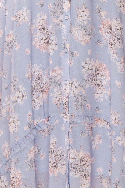 Espella Lilac Floral Buttoned Maxi Dress | Boutique 1861 fabric