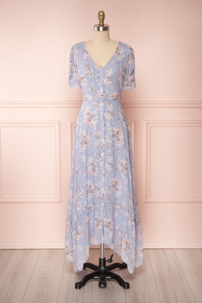 Espella Lilac Floral Buttoned Maxi Dress | Boutique 1861 bottom