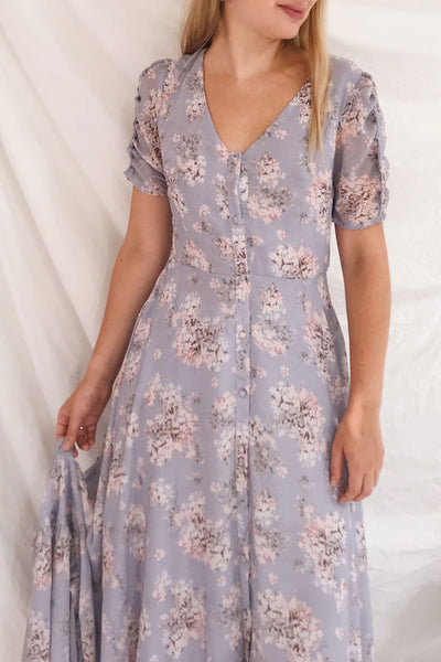 Espella Lilac Floral Buttoned Maxi Dress | Boutique 1861 on model