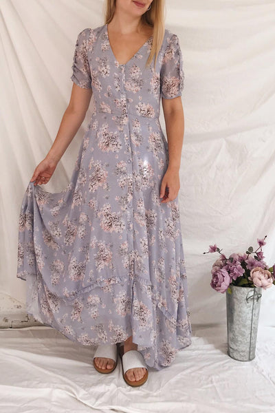 Espella Lilac Floral Buttoned Maxi Dress | Boutique 1861 model look