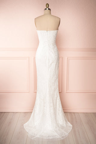 Esperance White Mermaid Gown | Robe Bustier | Boudoir 1861 back view