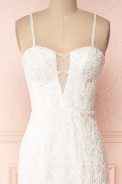 Esperance White Mermaid Gown | Robe Bustier | Boudoir 1861 front close up strap