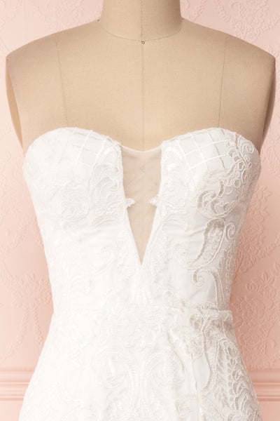 Esperance White Mermaid Gown | Robe Bustier | Boudoir 1861 front close-up