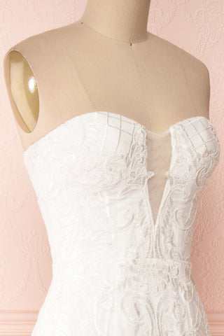 Esperance White Mermaid Gown | Robe Bustier | Boudoir 1861 side close-up