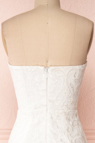 Esperance White Mermaid Gown | Robe Bustier | Boudoir 1861 back close-up