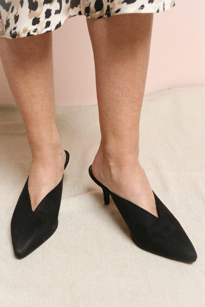 Esquirol Black Pointed Toe Low Heeled Mules | La Petite Garçonne on model