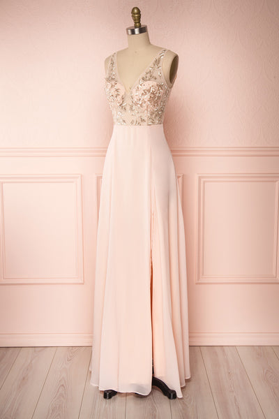 Esther Blush Pink Maxi Prom Dress with Slit | Boutique 1861 side view