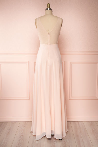 Esther Blush Pink Maxi Prom Dress with Slit | Boutique 1861 back view