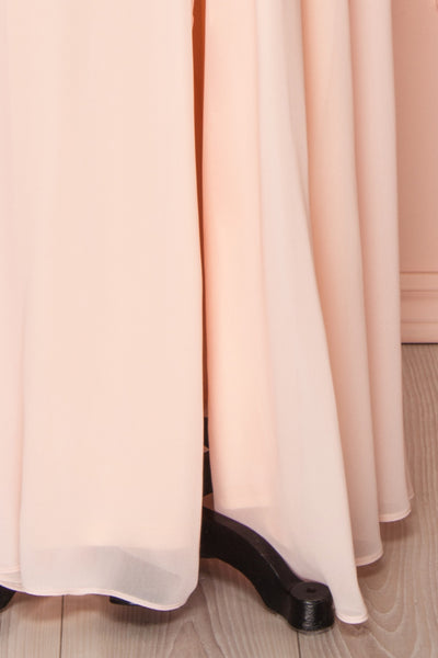 Esther Blush Pink Maxi Prom Dress with Slit | Boutique 1861 bottom
