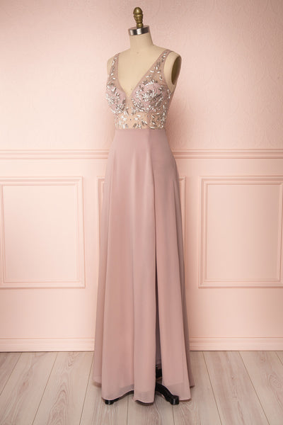 Esther Taupe Maxi Prom Dress with Slit | Boutique 1861 side view