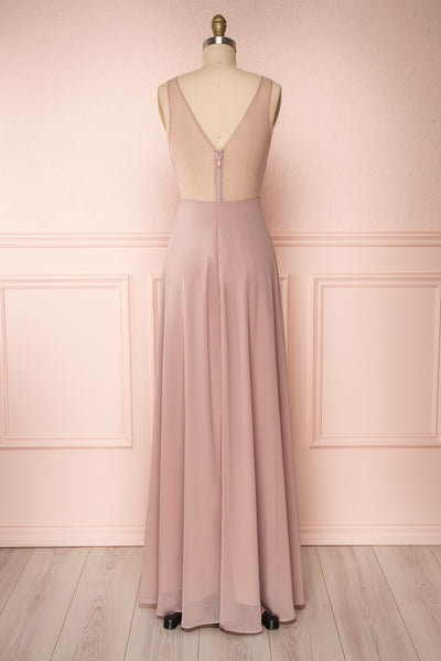 Esther Taupe Maxi Prom Dress with Slit | Boutique 1861 back view