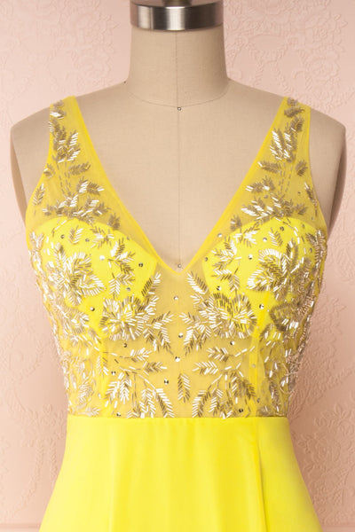 Esther Yellow Maxi Prom Dress with Slit | Boutique 1861 front close-up
