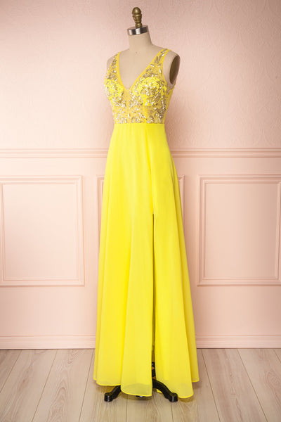 Esther Yellow Maxi Prom Dress with Slit | Boutique 1861 side view